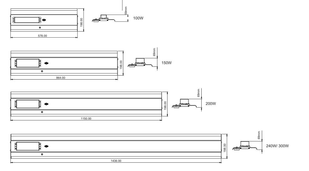 led slim linear high bay dimension diagram