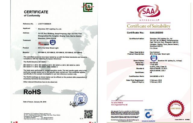 saa and rohs certification