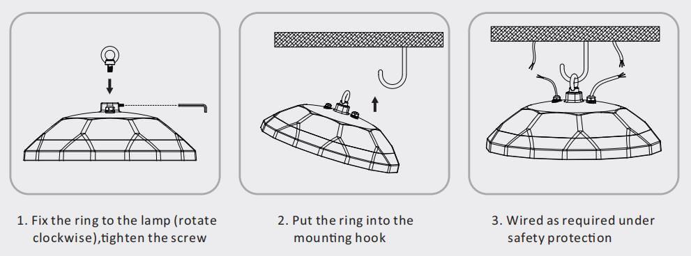 o hook installation led ufo light
