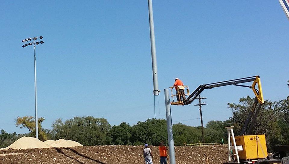 stadium lights installation
