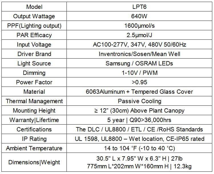 lpt6 specification