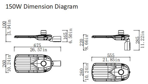 150w dimension diagram