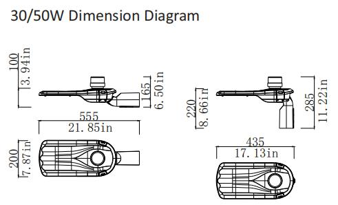 30w 50w dimension diagram