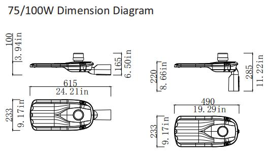 75w 100w dimension diagram