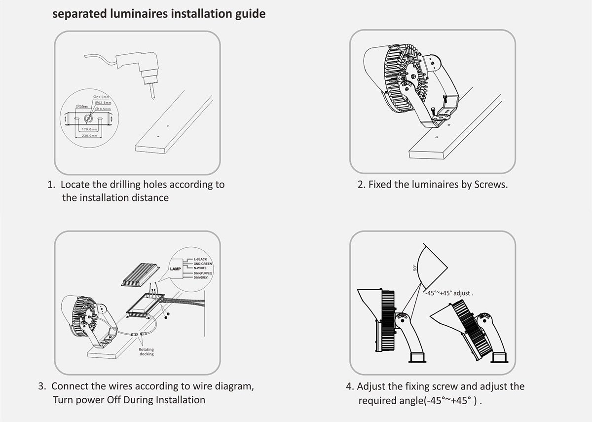 separated luminaires installation guide